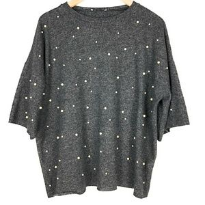 ZARA Over Sized Pearl Front Sweater Top